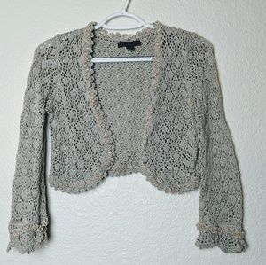 Express Pima Cotton crocheted bolero/shrug Sz M
